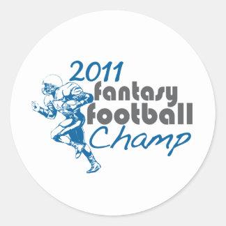 Campeón 2011 del fútbol de la fantasía pegatina redonda