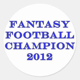 Campeón 2012 del fútbol de la fantasía pegatina redonda