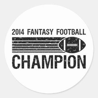 Campeón 2014 del fútbol de la fantasía 1 pegatina redonda