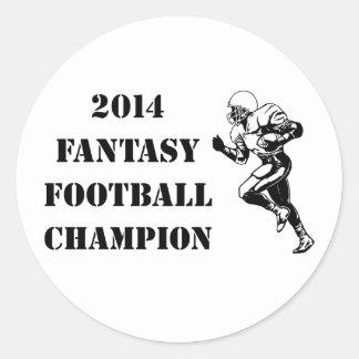 Campeón 2014 del fútbol de la fantasía 2 pegatina redonda