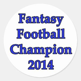 Campeón 2014 del fútbol de la fantasía pegatina redonda