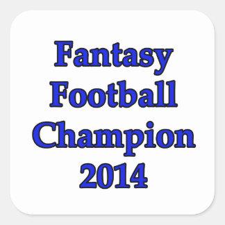 Campeón 2014 del fútbol de la fantasía pegatina cuadrada