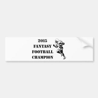 Campeón 2015 del fútbol de la fantasía 2 pegatina para auto