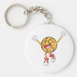 Campeón alegre del baloncesto llavero redondo tipo pin