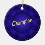 Campeón azul de la cinta a modificar para requisit ornamentos de navidad