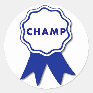 Campeón Blue Ribbon Pegatina Redonda