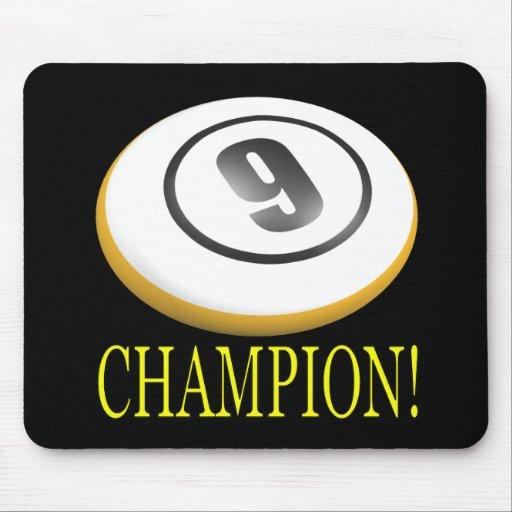 Campeón de 9 bolas alfombrilla de ratón