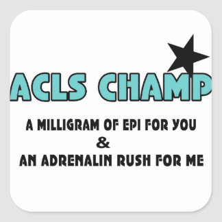 Campeón de ACLS Calcomania Cuadradas Personalizadas