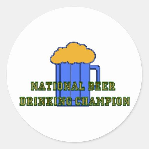 Campeón de consumición de la cerveza pegatina redonda