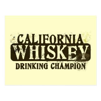 Campeón de consumición del whisky de California Tarjeta Postal
