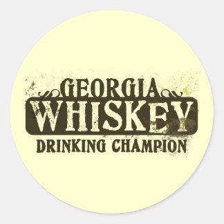 Campeón de consumición del whisky de Georgia Pegatina Redonda