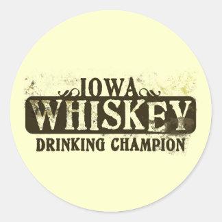 Campeón de consumición del whisky de Iowa Etiqueta Redonda