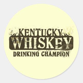 Campeón de consumición del whisky de Kentucky Etiquetas Redondas