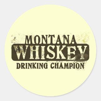 Campeón de consumición del whisky de Montana Pegatinas Redondas