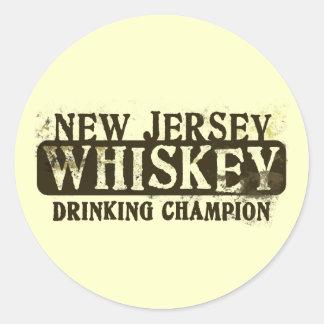 Campeón de consumición del whisky de New Jersey Pegatina Redonda