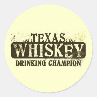 Campeón de consumición del whisky de Tejas Pegatina Redonda