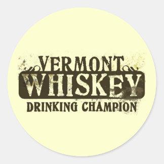 Campeón de consumición del whisky de Vermont Pegatina Redonda