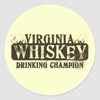 Campeón de consumición del whisky de Virginia Pegatina Redonda