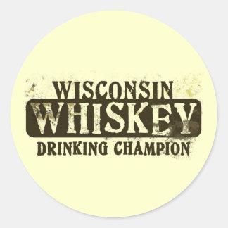 Campeón de consumición del whisky de Wisconsin Etiquetas Redondas