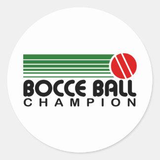 Campeón de la bola de Bocce Etiqueta Redonda