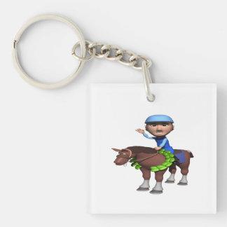 Campeón de la carrera de caballos llavero cuadrado acrílico a una cara