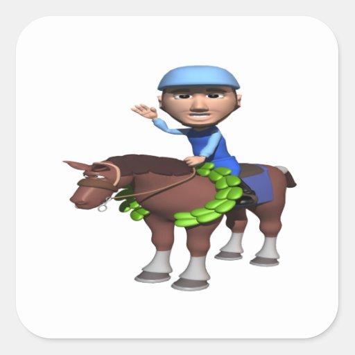 Campeón de la carrera de caballos calcomanías cuadradass