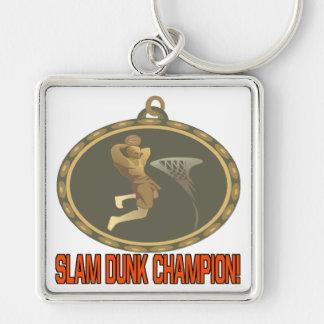 Campeón de la clavada llavero cuadrado plateado