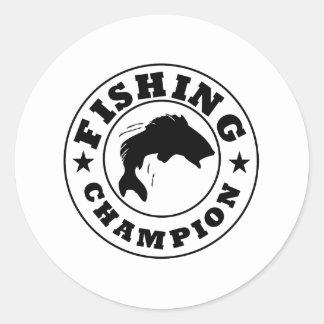 Campeón de la pesca pegatina redonda