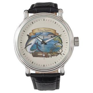 Campeón de la pesca (personalizable) reloj de mano