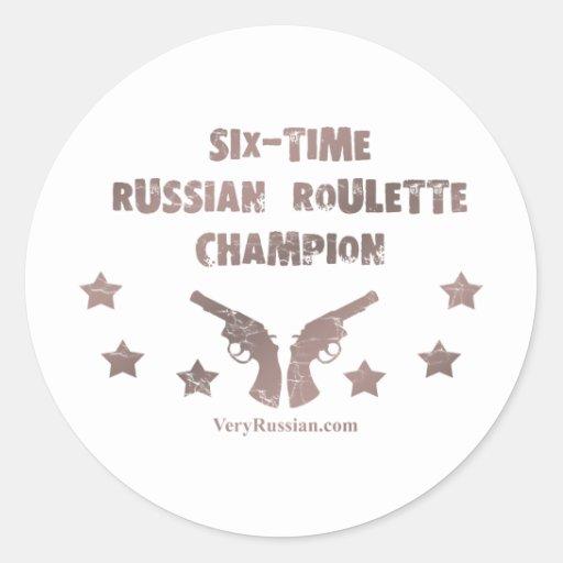 Campeón de la ruleta rusa pegatinas redondas