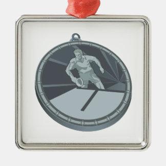 Campeón de los tenis de mesa adorno navideño cuadrado de metal