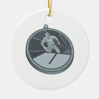 Campeón de los tenis de mesa adorno navideño redondo de cerámica