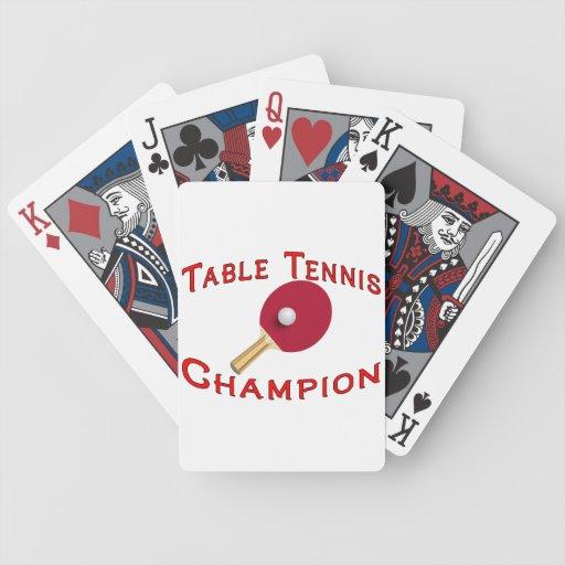 Campeón de los tenis de mesa baraja de cartas bicycle