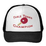 Campeón de los tenis de mesa gorras de camionero