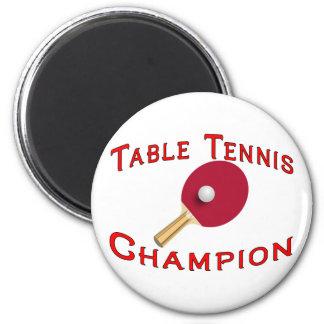 Campeón de los tenis de mesa iman de nevera