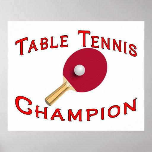 Campeón de los tenis de mesa impresiones