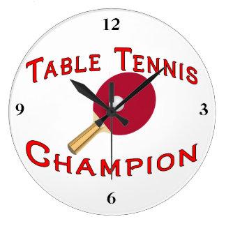 Campeón de los tenis de mesa reloj redondo grande