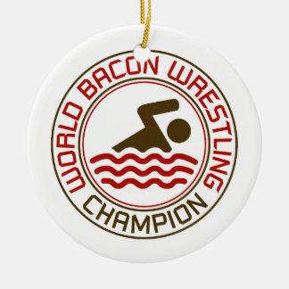Campeón de lucha del tocino del mundo adorno navideño redondo de cerámica
