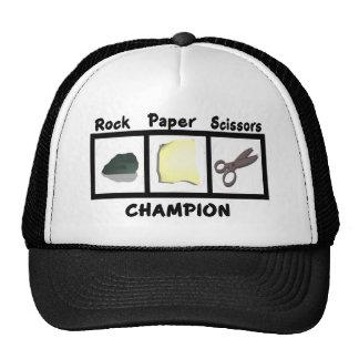 Campeón de papel de las tijeras de la roca gorra
