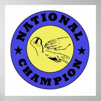 Campeón de papel del nacional de las tijeras de la posters