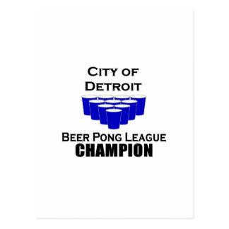 Campeón de Pong de la cerveza de Detroit Postal