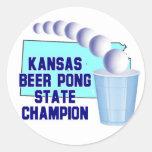 Campeón de Pong de la cerveza de Kansas Pegatina