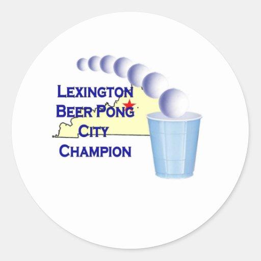Campeón de Pong de la cerveza de Lexington Pegatina Redonda