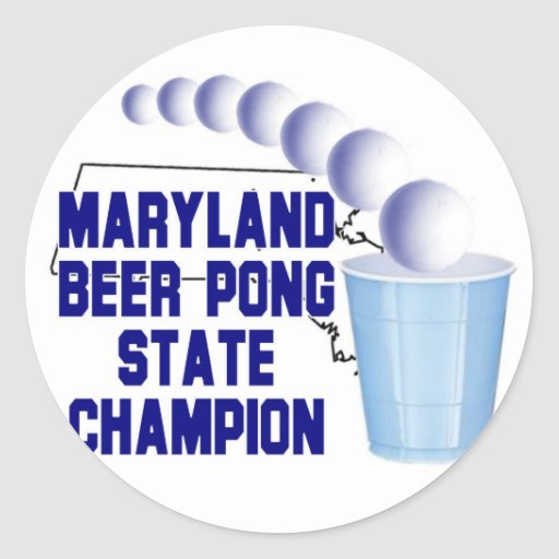 Campeón de Pong de la cerveza de Maryland Pegatina Redonda