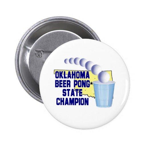 Campeón de Pong de la cerveza de Oklahoma Pin Redondo 5 Cm
