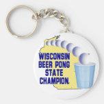 Campeón de Pong de la cerveza de Wisconsin Llaveros Personalizados