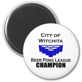 Campeón de Pong de la cerveza de Witchita Imán Redondo 5 Cm