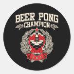 Campeón de Pong de la cerveza Etiquetas Redondas