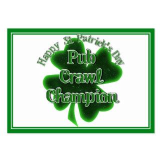 Campeón del arrastre de Pub del día de St Patrick Tarjetas De Visita Grandes