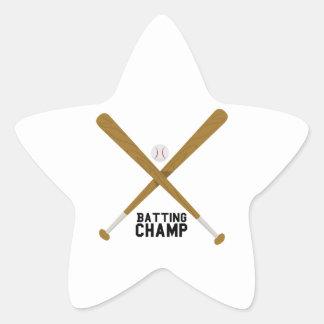 Campeón del bateo calcomanía forma de estrella personalizada
